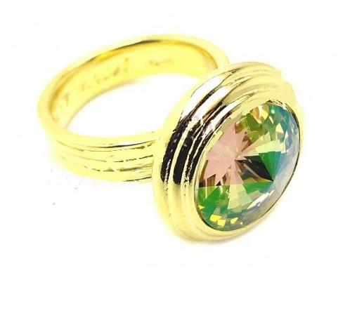 """Кольцо """"Эмбаси"""" с кристаллами Swarovski, покрытое золотом (j171p020)"""