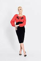 Жіноча сукня  з етнычним принтом червоно-чорного кольору ТМ Nenka  425-с01