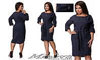 Модное платье-рубашка с поясом батал