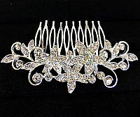 Гребешок для волос Три цветка в обрамлении