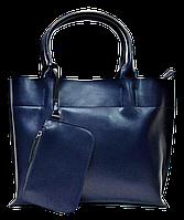 Аккуратная женская сумка из натуральной кожи синего цвета BQX-000811