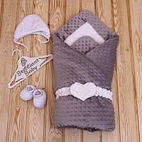 "Зимний плюшевый конверт-одеяло ""Sweetness"", серый, фото 1"