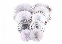 Набор бумажных вертушек для декора 8 шт., серебро с белым