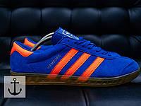 Кроссовки Adidas Hamburg (Синие с рыжим)