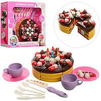 Продукты 2228-1 на липучке торт,тарелки чашки нож свечи