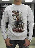 """Мужской свитшот """"Динозавр с телефоном"""""""