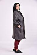 Женский модный демисезонный кардиган на меху 0603 цвет серый размер 42-74, фото 3