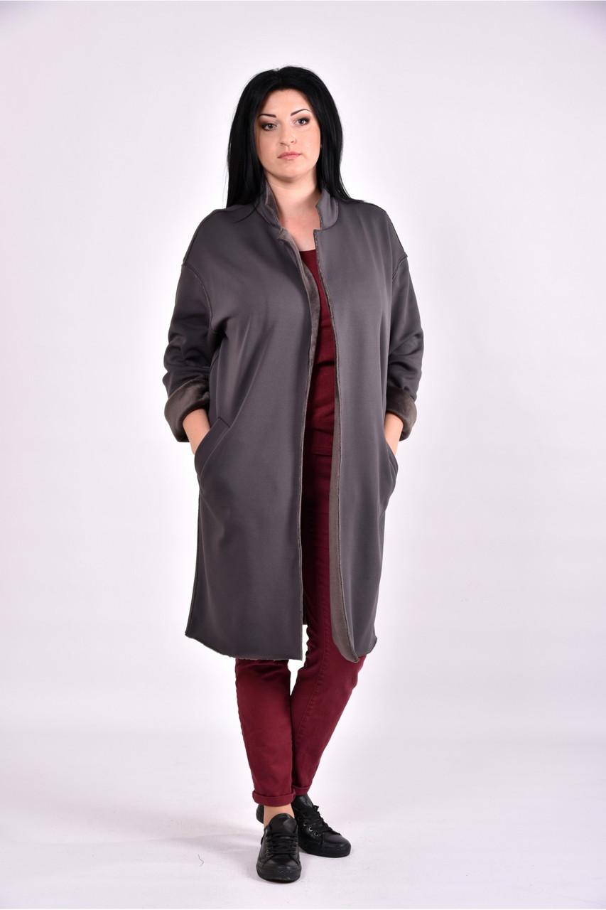 Женский модный демисезонный кардиган на меху 0603 цвет серый размер 42-74