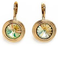 """Серьги """"Эмбаси"""" с кристаллами Swarovski, покрытые золотом (j171p120)"""