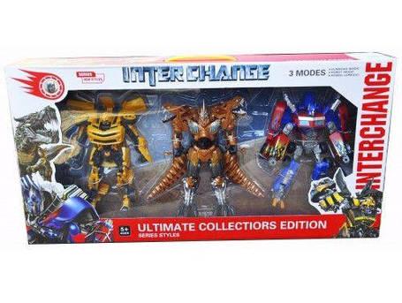 Набор трансформеров 4119 Transformers (3 модели) Оптимус Прайм. Бамблби. Гримлок, фото 2