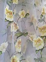 Тюль органза с рисунком цветы Роза желтая