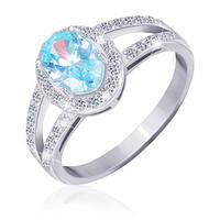 """Серебряное кольцо с имитацией топаза """"401"""""""