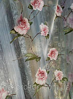 Тюль органза с рисунком цветы Роза персик