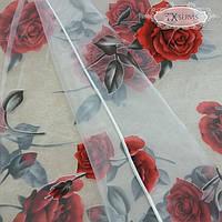 Тюль органза с рисунком цветы Роза красная