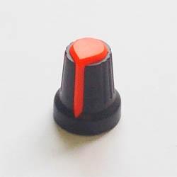 Ручка потенциометра черная с оранжевым верхом и полосой, D=15mm, H=17mm