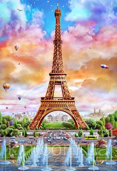 Набор для алмазной вышивки квадратными камнями Вид на Эйфелеву башню 60 х 40 см (арт. FS616)