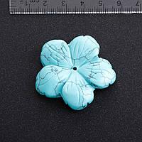 Фурнитура Цветок натуральный камень Ø 4,1 см Бирюза