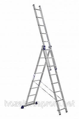 Лестница 3-х секционная алюминиевая Stairs L308, фото 2