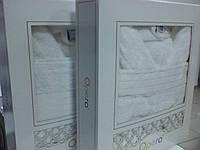 Подарочный набор: халат (р.XL) и полотенце, белый, Турция