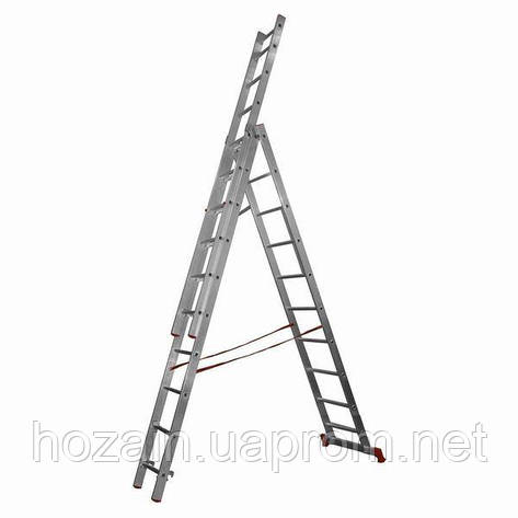 Лестница 3-х секционная алюминиевая Stairs L309, фото 2
