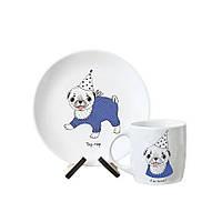 "Детская тарелка и чашка ""Мопсик"""