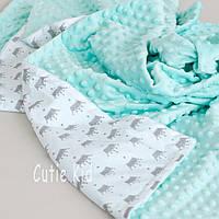 """Одеяло, плед для новорожденного """"Mint and crown"""""""