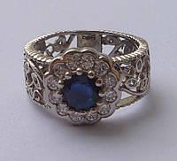 Кольцо ажурное с натуральным синим сапфиром Размер 17