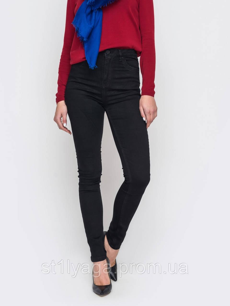Облегающие джинсы женские с высокой посадкой большого размера демисезон американка  HEPYEK  черный