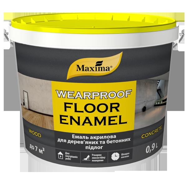 Емаль акрилова для дерев'яних і бетонних підлог Maxima, жовто-коричневий RAL 8003 0,9 л