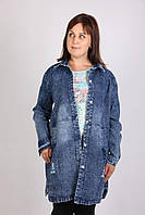 Женский кардиган из джинса с карманами больших размеров