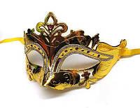 Маска карнавальная на глаза золотистая