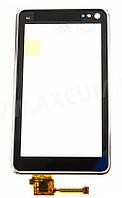 Тачскрин (сенсор) Nokia N8, N8-00 with silver frame (с серебристой рамкой) ORIG, black (черный)