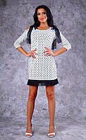 Женское трикотажное платье в горошек с бантами на плечах Poliit №8399
