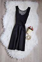 Черное короткое платье с кружевным топом H&M