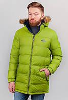Куртка двусторонняя мужская, пуховик с капюшоном AG-0002821 Сине-салатовый