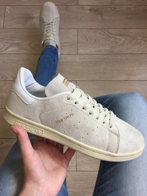 Кроссовки Adidas Stan Smith женские бежевые замша (реплика)