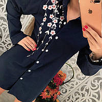 Женская удлиненная коттоновая рубашка с вышивкой розы тренд 2017 года