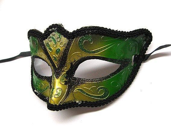 Маска венецианская зеленая карнавальная