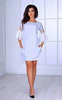 Женское платье с рукавами 3/4 (светло-серое) Poliit № 8404