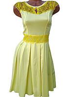 Летние женские платья с кружевом (желтый 42), фото 1