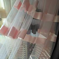 Тюль фатин полосы персик