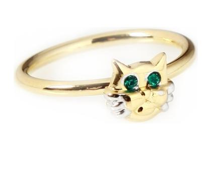 """Кольцо """"Кис"""" с кристаллами Swarovski, покрытое золотом с родием (a791q030)"""
