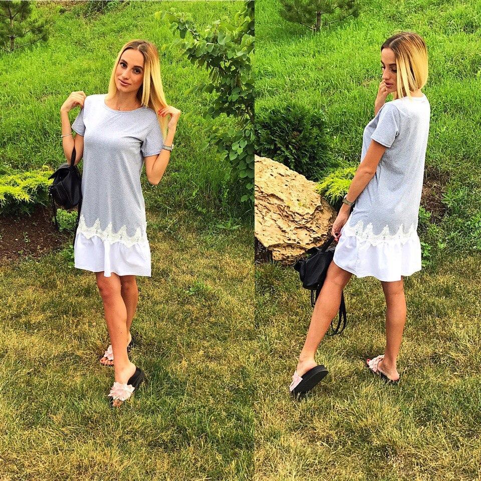 434a0dbb15d Серое летнее платье с белым кружевом внизу. Арт-2317 2