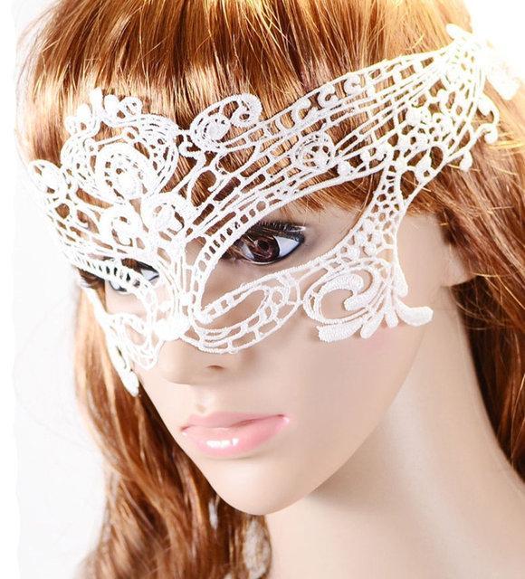 Кружевная белая маска для глаз женская