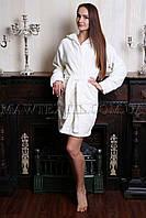 Женский махровый халат короткий MISS Белый  (бесплатная доставка+подарок)