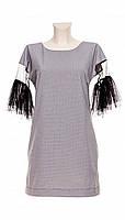 Женское платье с рукавами 3/4 (серое) Poliit № 8404