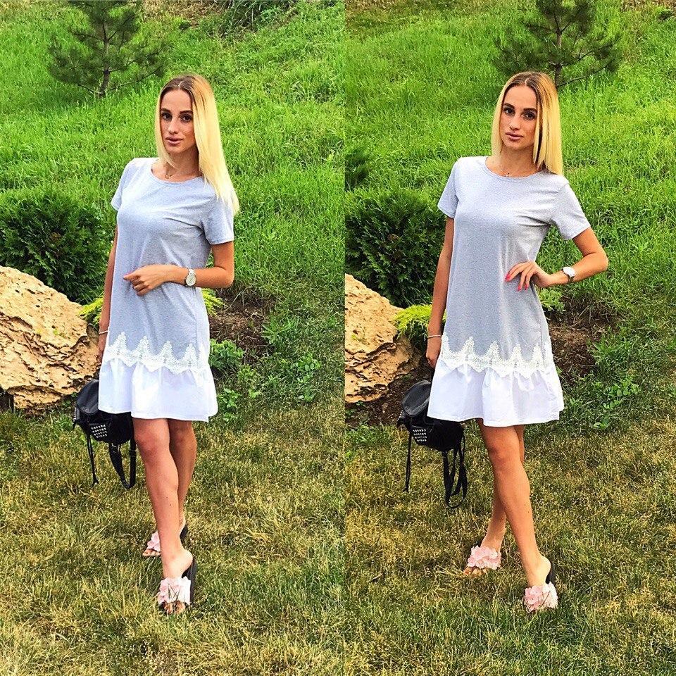 5e1cdd20411 Голубое летнее платье с белым кружевом внизу. Арт-2317 2  продажа ...