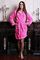 """Женский махровый халат короткий """"Комфорт"""" розовый  (бесплатная доставка+подарок)"""