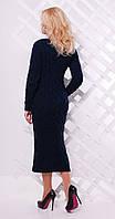 Платье длинное с разрезом темно-синее