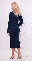 Платье длинное с разрезом цвета темный джинс